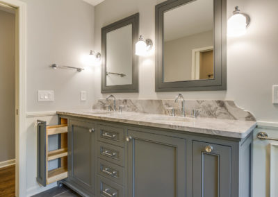 double sink vanity with pull out drawer storage