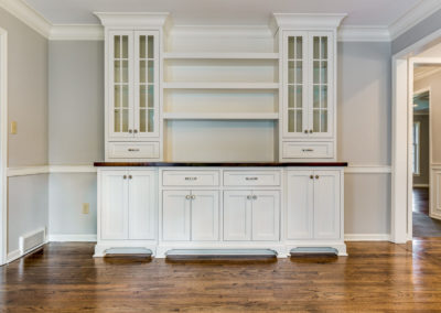 custom built in buffet with cabinets in dining room