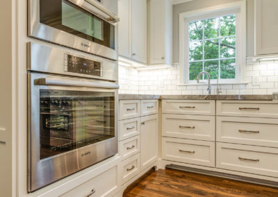 double stainless steel ovens in kitchen