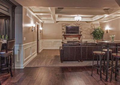 custom basement remodel with living area