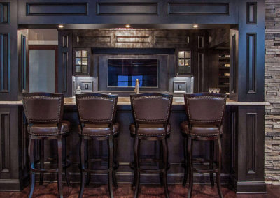 dark wood bar with stool seating