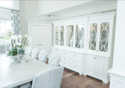 large white hutch in dining room