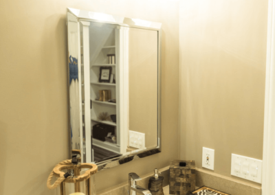 single sink bathroom vanity with silver mirror