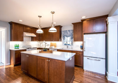 transitional kitchen remodel with retro white appliances