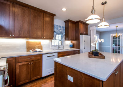 transitional kitchen renovation with center island