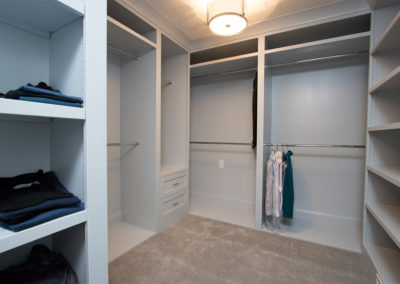 renovated master closet with built in storage