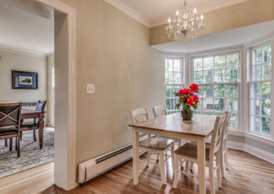 dining area with bay window off kitchen