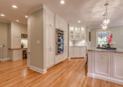 white kitchen remodel with hardwood floors