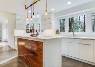 white kitchen with multiple windows above counters