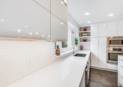 white kitchen countertop and undermount sink