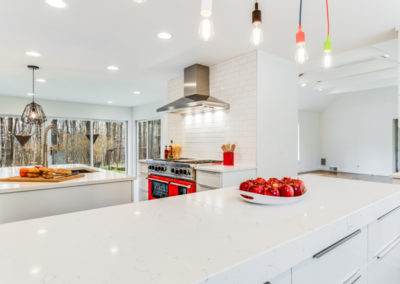white modern kitchen with serving island