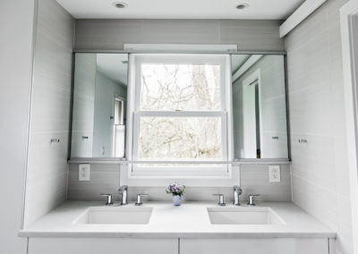 small double sink vanity with window