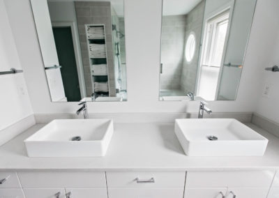 master bathroom with double raised sink vanity