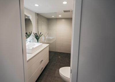remodeled bathroom with single sink vanity and glass door shower