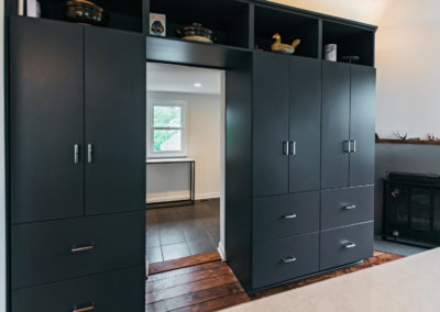 black built in cabinets and shelving