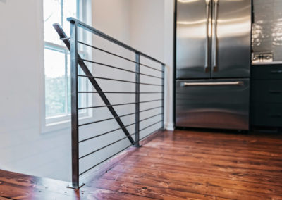 black iron railing of staircase