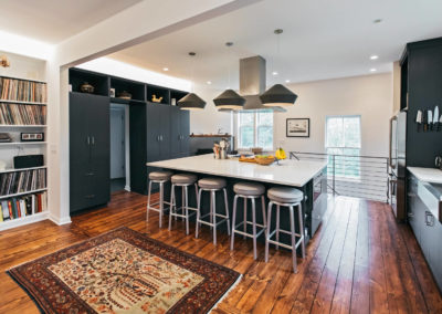 modern kitchen remodel with black cabinets
