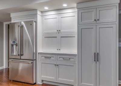 transitional kitchen with storage cabinets