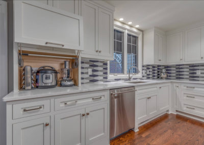 transitional kitchen remodel with hidden appliance storage
