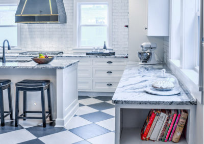 built in cookbook shelves at end of kitchen counter