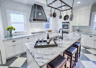 custom kitchen remodel with retro checkered floor