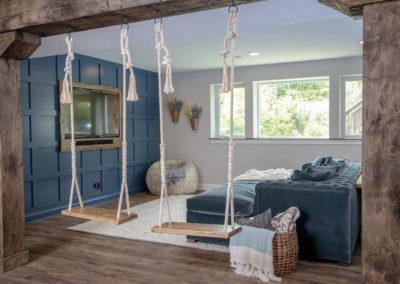 basement remodel with custom interior swings