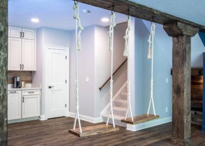 indoor swing set in custom finished basement