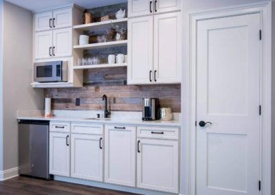 basement remodel with half kitchen
