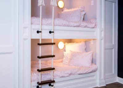custom built in bunk beds with rope ladder