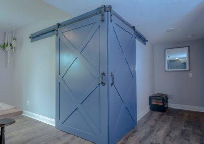 closed sliding blue barn doors