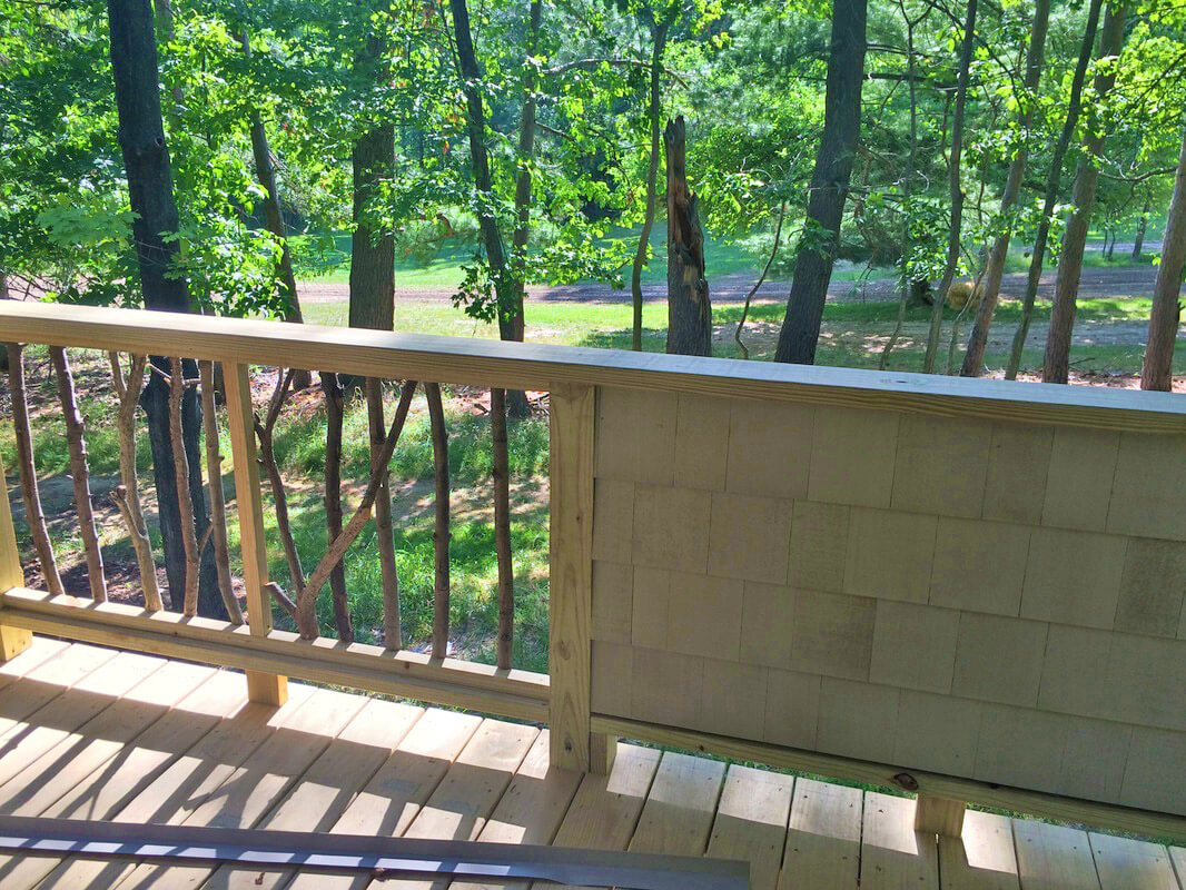 deck and railing of renovated treehouse