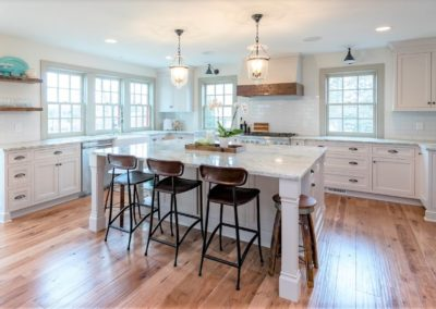 white farmhouse kitchen with center island
