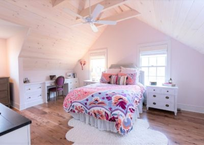 bedroom with vaulted wood ceiling