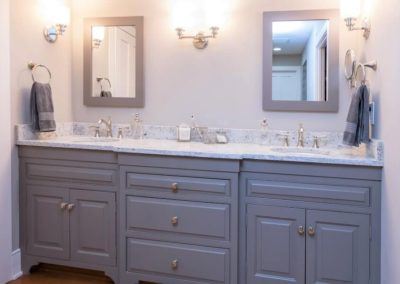 double sink vanity with gray cabinets