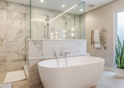 master bathroom with freestanding tub and glass shower