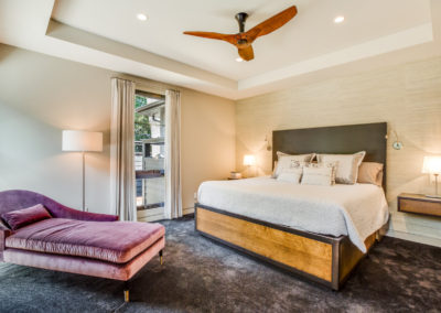 remodeled master bedroom with tray ceiling
