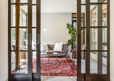 sliding glass doors leading to sitting room