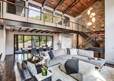 modern industrial living room with overlook