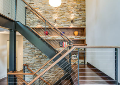 modern industrial staircase with wire railing