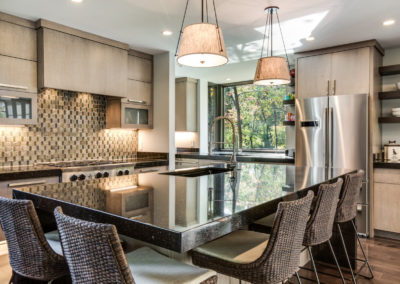 large seating island with black countertop