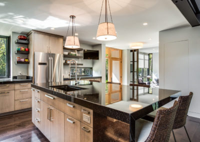 modern industrial kitchen remodel with eat-in island