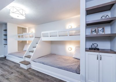 custom double bunk bed sets with built in shelving