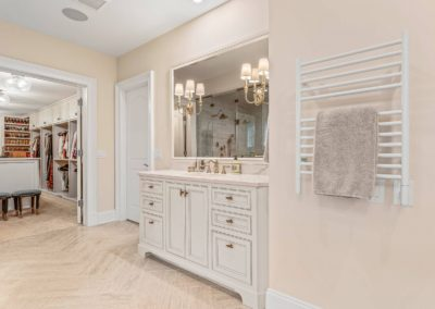 remodeled master bathroom vanity with blush walls