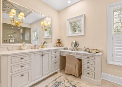 master bathroom remodel with single sink vanity and vanity with mirror