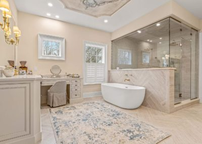 custom master bathroom remodel with freestanding tub and walk in shower