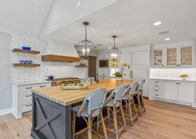 remodeled farmhouse kitchen with island