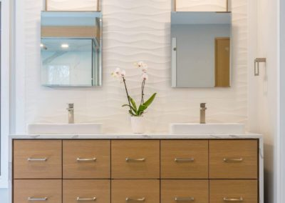 wall mounted double sink vanity with raised sinks
