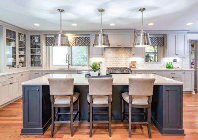 kitchen with light and dark grey color scheme