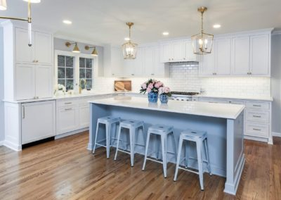 large island with bar stools and white countertop