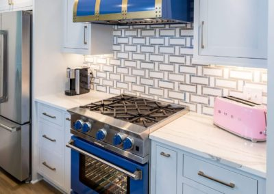 blue gas stove with range hood